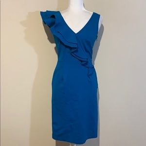 Teri Jon Sportswear Blue Ruffle Strap Sheath Dress